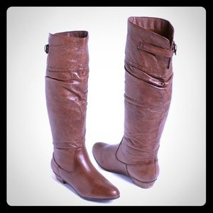 """STEVE MADDEN """" CRAAVE """" KNEE HIGH LEATHER BOOTS"""